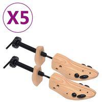 vidaXL Șanuri pantofi, 5 perechi, mărime 36-40, lemn masiv de pin