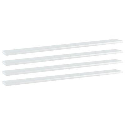 vidaXL Plăci bibliotecă, 4 buc. alb extralucios, 100 x 10 x 1,5 cm PAL