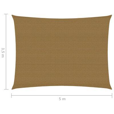 vidaXL Pânză parasolar, gri taupe, 3,5x5 m, HDPE, 160 g/m²