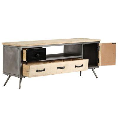 vidaXL Comodă TV, 120 x 30 x 45 cm, lemn masiv de mango și oțel