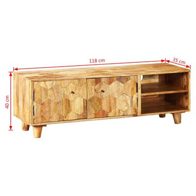 vidaXL Comodă TV din lemn masiv de mango, 118 x 35 x 40 cm