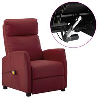 vidaXL Electric Massage Reclining Chair Wine Red Faux Leather (289727+327164)