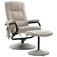 vidaXL Fotoliu de masaj rabatabil cu taburet, crem, material textil
