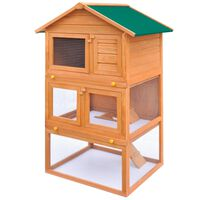 Cușcă de exterior iepuri cușcă adăpost animale mici 3 niveluri lemn