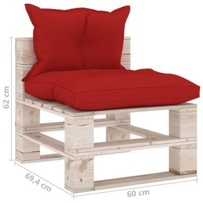vidaXL Canapea de grădină din paleți, 4 locuri, cu perne, lemn de pin