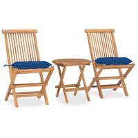 vidaXL Set mobilier de exterior pliabil, cu pernă, 3 piese, lemn masiv tec