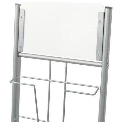 vidaXL Raft reviste A4, argintiu, 38x27x139 cm