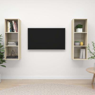 vidaXL Dulapuri TV montate pe perete, 2 buc., stejar sonoma, PAL