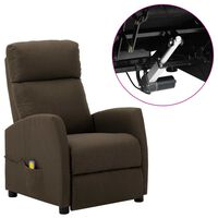 vidaXL Electric Massage Reclining Chair Brown Fabric (289710+327164)