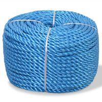 vidaXL Frânghie împletită polipropilenă, albastru, 100 m, 14 mm