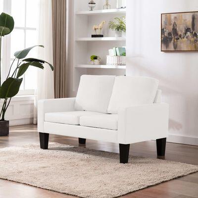 vidaXL Canapea cu 2 locuri, alb, piele ecologică