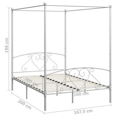 vidaXL Cadru de pat cu baldachin, alb, 160 x 200 cm, metal