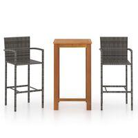 vidaXL Set mobilier de bar de grădină, 3 piese, gri