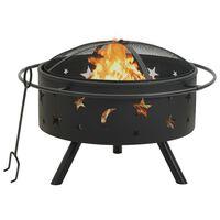 vidaXL Vatră de foc cu vătrai, 76 cm, oțel, XXL