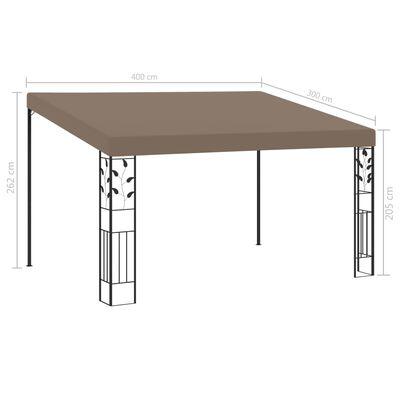 vidaXL Pavilion montat de perete, gri taupe, 4 x 3 x 2,5 m