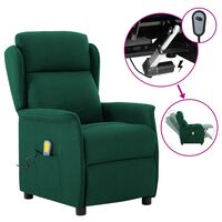 vidaXL Electric Massage Recliner Dark Green Fabric (289792+327164)