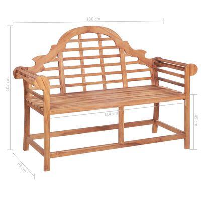 vidaXL Bancă de grădină, pernă alb crem, 120 cm, lemn masiv tec
