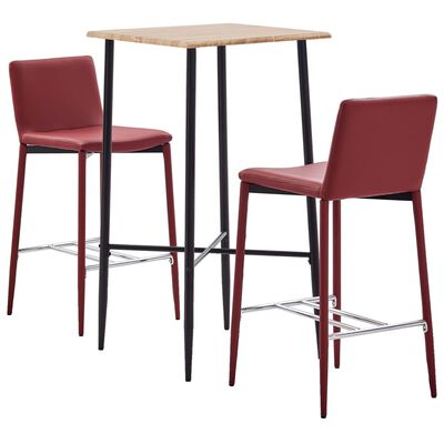 vidaXL Set mobilier de bar, 3 piese, roșu vin, piele ecologică