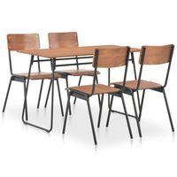vidaXL Set mobilier bucătărie, 5 piese, maro, placaj solid & oțel