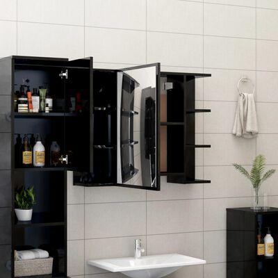 vidaXL Dulap de baie cu oglindă, negru extralucios, 80x20,5x64 cm, PAL