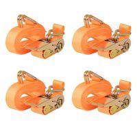 vidaXL Chingi fixare cu clichet, 4 buc, 0,4 tone 6 mx25 mm, portocaliu
