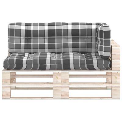 vidaXL Perne de canapea din paleți, 3 buc., gri, model carouri