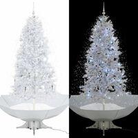 vidaXL Brad de Crăciun cu ninsoare și bază umbrelă, alb, 190 cm
