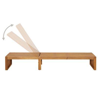 vidaXL Șezlong cu pernă, lemn masiv de acacia