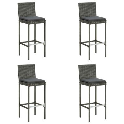 vidaXL Set mobilier de bar de grădină cu perne, 5 piese, gri