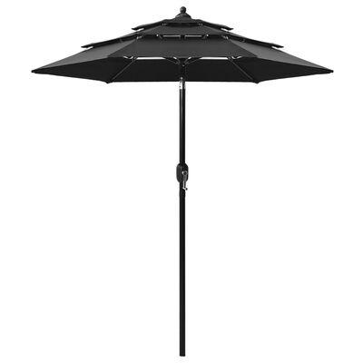 vidaXL Umbrelă de soare 3 niveluri, stâlp de aluminiu, negru, 2 m