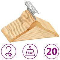 vidaXL Set de umerașe anti-alunecare, 20 buc., lemn esență tare