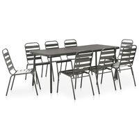vidaXL Set mobilier de exterior, 9 piese, gri închis, oțel