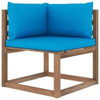 vidaXL Canapea de grădină din paleți colțar, perne albastru deschis