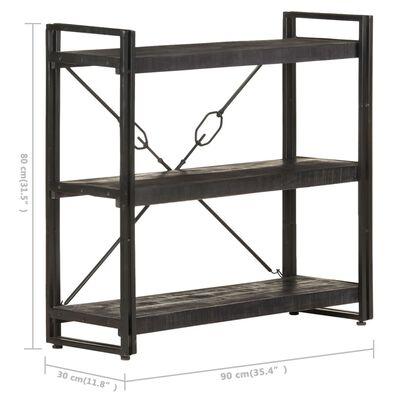 vidaXL Bibliotecă cu 3 rafturi, negru, 90x30x80 cm, lemn masiv mango
