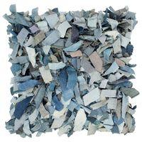 vidaXL Pernuță denim Shaggy, albastru, 60x60 cm, piele și bumbac
