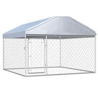 vidaXL Padoc de câini de exterior cu acoperiș, 200 x 200 x 135 cm
