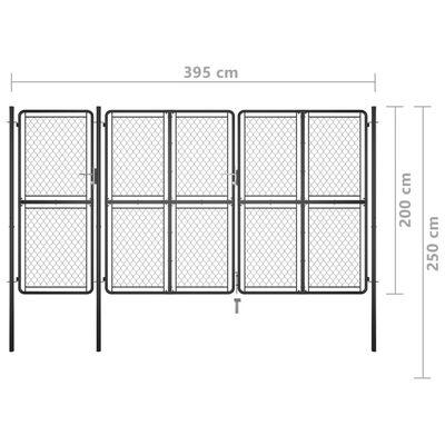 vidaXL Poartă de grădină, antracit, 200 x 395 cm, oțel
