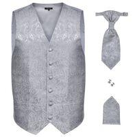Set vestă nuntă pentru bărbați, imprimeu Paisley, mărime 56, argintiu