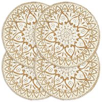 vidaXL Naproane, 4 buc., alb, 38 cm, iută, rotund