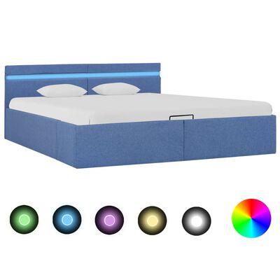 vidaXL Cadru pat hidraulic ladă și LED, albastru, 160 x 200 cm, textil