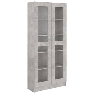 vidaXL Dulap cu vitrină, gri beton, 82,5 x 30,5 x 185,5 cm, PAL