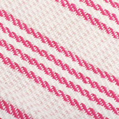 vidaXL Pătură decorativă cu dungi, bumbac, 160 x 210 cm, roz și alb