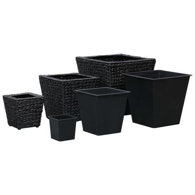 vidaXL Straturi înălțate de grădină, 3 buc., negru, zambilă de apă