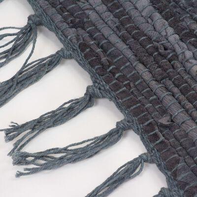 vidaXL Covor Chindi țesut manual, piele 120 x 170 cm Gri