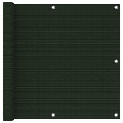 vidaXL Paravan de balcon, verde închis, 90x500 cm, HDPE