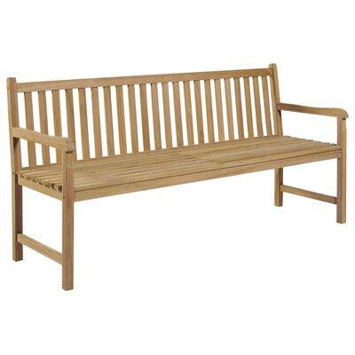 vidaXL Bancă de grădină, pernă gri carouri, 175 cm, lemn masiv de tec