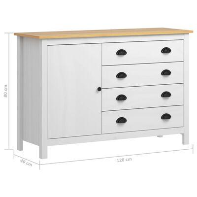 vidaXL Servantă Hill Range, alb, 120 x 40 x 80 cm, lemn masiv de pin