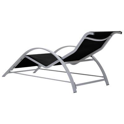 vidaXL Șezlonguri de plajă cu masă, 2 buc., negru, aluminiu