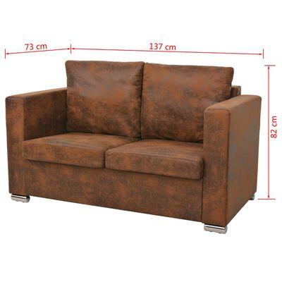 vidaXL Set canapea 3 piese, imitație piele întoarsă