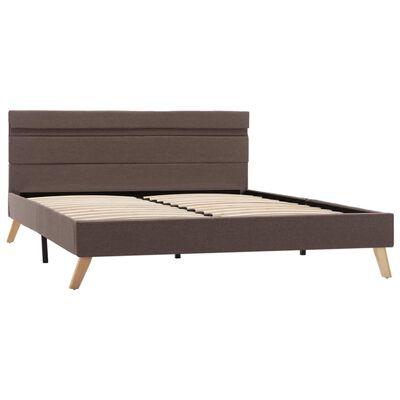vidaXL Cadru de pat cu LED-uri, gri taupe, 120x200 cm, material textil